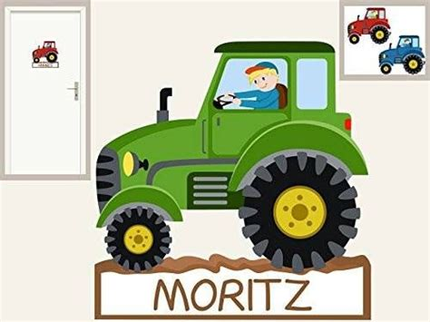 Wandtattoo Kinderzimmer Traktor by T 252 Rschild Quot Traktor Quot Personalisierbarer Aufkleber