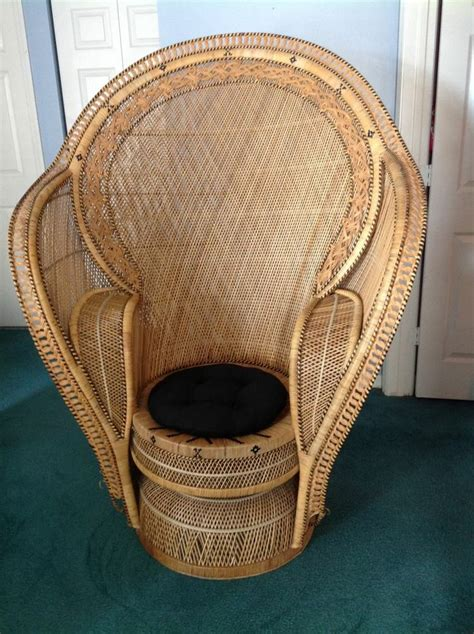 wicker chair vintage large peacock chair