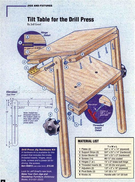 drill press tilt table plans woodarchivist