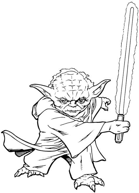 sta da colorare wars il maestro jedi yoda pronto a combattere con