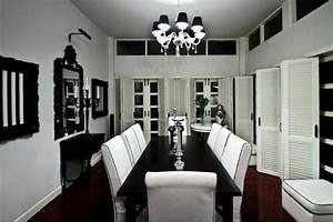Formal black and white dining room set with reddish brown for Modern dining room black and white