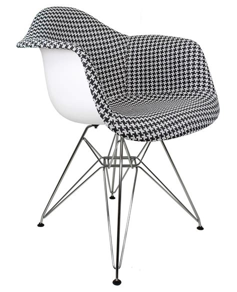 Houndstooth Pattern Woven Fabric Upholstered White Eames