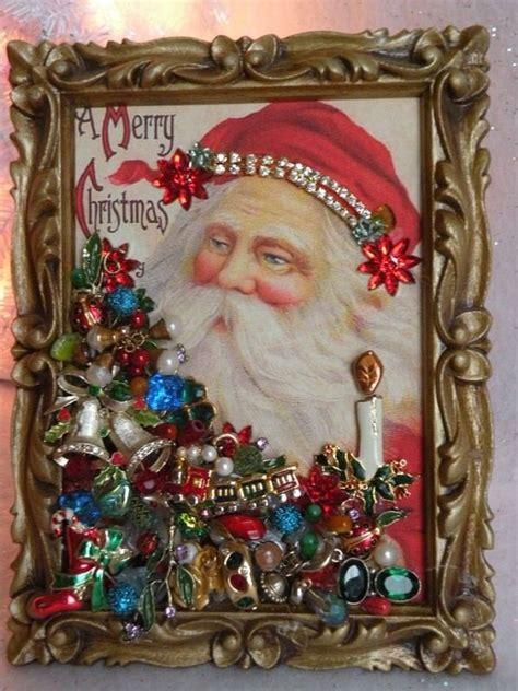 framed vtg jewelry charming xmas victorian postcard santa