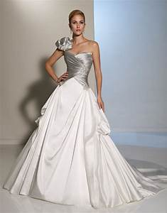 elegant long white and silver one shoulder gothic wedding With td wedding dresses
