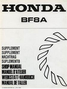 Honda Marine Outboard Motor Bf8a Supplement To Service Manual