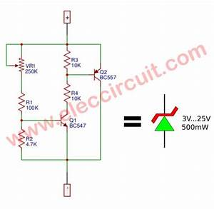 Variable Zener Diode Circuit  Adjust Voltage Output