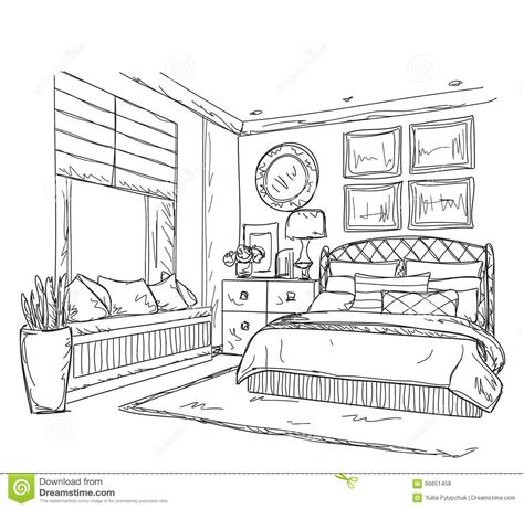 coloriage de chambre de fille bedroom modern interior drawing stock vector