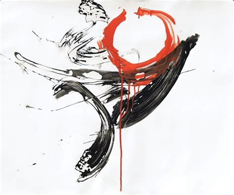 Abstract Black And White Ink Painting by Black And White Abstract Ink Painting With Orange Enso 54