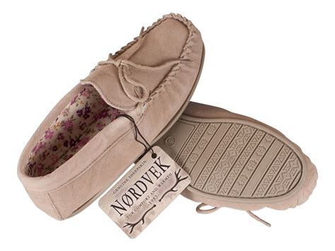 Nordvek Womens Sheepskin Suede Moccasin Slippers Non-slip