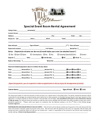room rental agreement form samples   documents