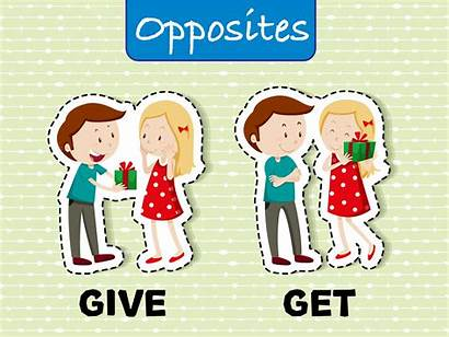 Opposite Words Give Vector Clipart Before