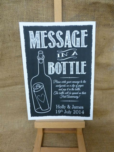 personalised chalk style message   bottle sign print guest book wedding ebay