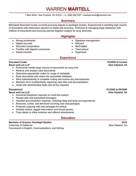 legal coding specialist resume  livecareer