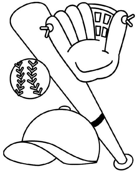 bat glove hat  baseball coloring page baseball