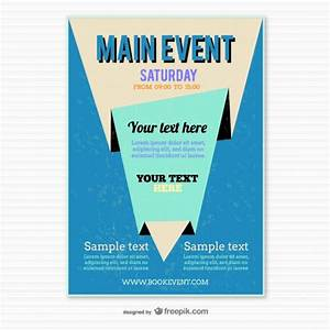 Blue origami poster template vector free download for Eposter template