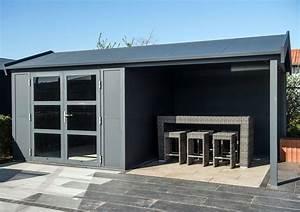 Gartenhaus Mit überdachter Terrasse : modernes aluminium gartenhaus mit berdachter terrasse q s gartendeco gartengestaltung ~ One.caynefoto.club Haus und Dekorationen