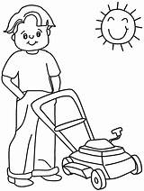 Coloring Lawn Mower Template Pages Summer Lawnmower sketch template