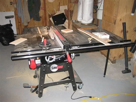 sawstop cabinet saw outfeed table review contractors saw by wingstress lumberjocks