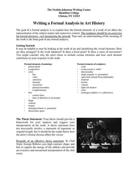 The format for an mfa thesis in fine art (applied arts & digital) will in almost all cases coincide with a final thesis exhibition of completed works. Formal analysis Art History - ARTH 110 - BU - StuDocu