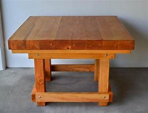 Heavy Duty Wood Workshop Table - Solid Redwood Table