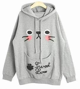 Cute Cat Ears, Kitten Face Hoodie Sweatshirt/Pullover ...