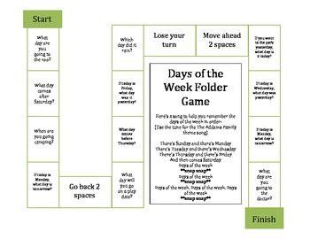 days   week folder game  teach speech teachers