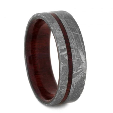 meteorite wedding band custom ring with bloodwood sleeve
