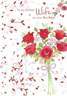 wife happy birthday card rose bouquet design size