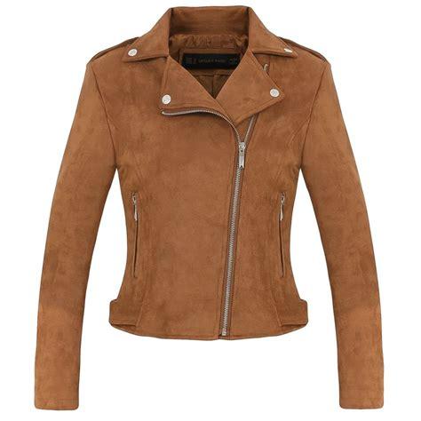 canap faux cuir fashion suede motorcycle jacket slim brown