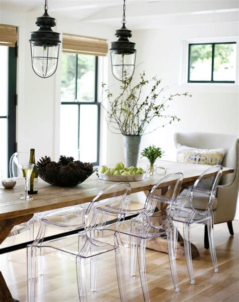 ghost chairs with wood table love the old farm table with ghost chairs modern farmhouse