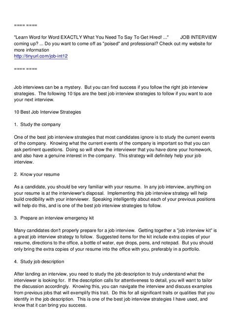 Job Interview Thank You Letter