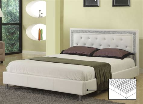 queen bed white  rhinestone jewels  chrome legs