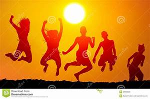 Silhouettes Of Happy Teenagers Jumping High Stock Image ...