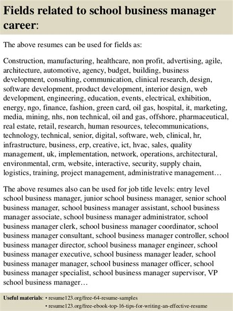 Resume For School Business Manager by Top 8 School Business Manager Resume Sles
