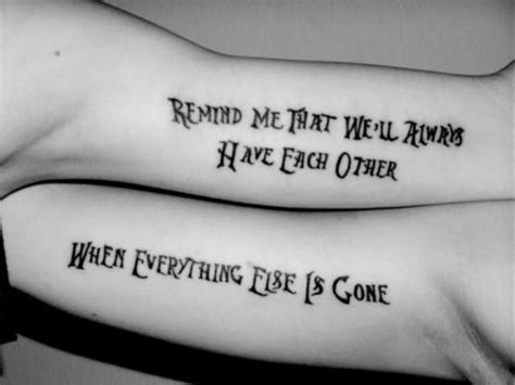 brother  sister matching lettering tattoo idea