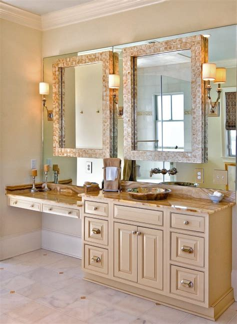 vanity and matching mirror frame bathroom traditional with
