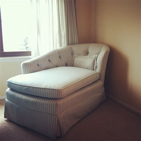 Small Skirted Striped Chaise Lounge Chair For Bedroom