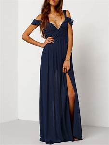 maxi robe epaule denude bleu marine french romwe With robe asymetrique epaule