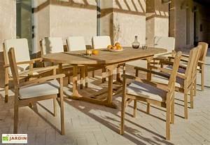 Salon Jardin Teck : salon de jardin teck amberes 1 table extensible 180 300cm ~ Melissatoandfro.com Idées de Décoration