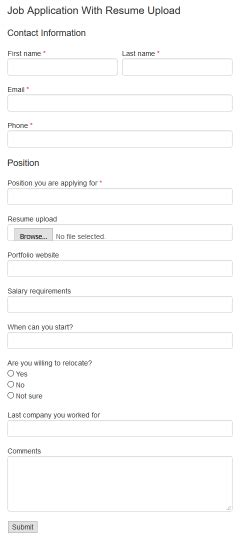 html code for application with resume upload form