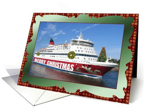 Merry Christmas Cruise Line Decorated Ship Card (882642)