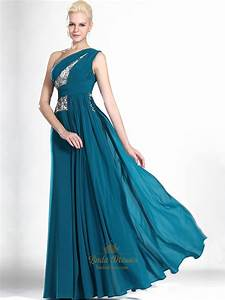 Teal One Shoulder Chiffon Floor Length Prom Dress With ...