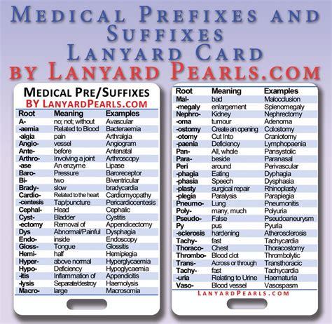 Medical + Nursing Prefixes And Suffixes  Pvc Lanyard Badge Card Ebay