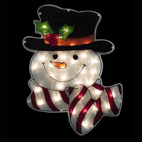 lighted snowman window display