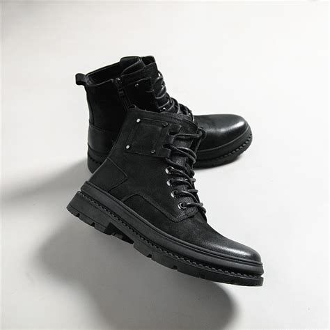 Black Leather Winter Ankle Boots For High Fashion Men
