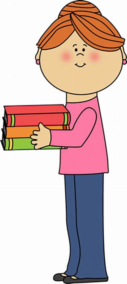 Teacher Clipart Books Holding Clip Background Pretty
