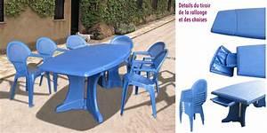 Salon de jardin canasta bleu lavande table 6 chaises for Salon de jardin evolutif
