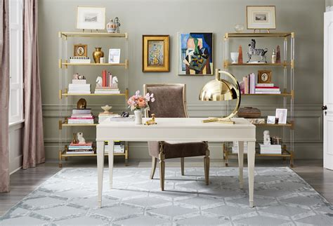 Sophisticated Office Spaces by A Sophisticated Home Office Decked Out In Neutral Hues And