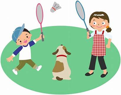 Badminton Clipart Dog Play Playing Mother Drawing