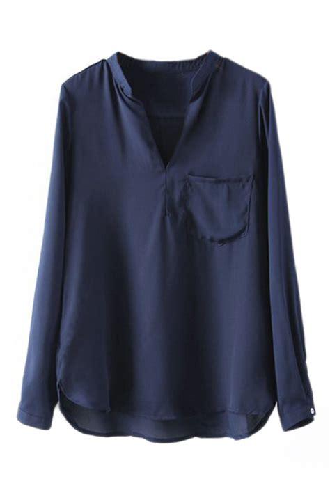 navy blouses romwe romwe asymmetric mandarin collar pocketed navy